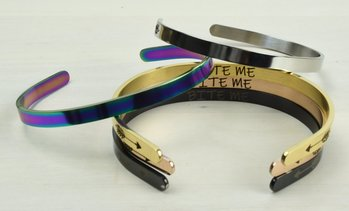"Solid Stainless Steel 5mm ""Quirky"" Sayings Cuff Bracelet by Pink Box"
