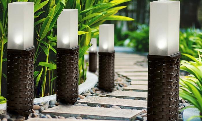 Pack de 4 luces solares con luz led groupon goods - Luces exteriores solares ...