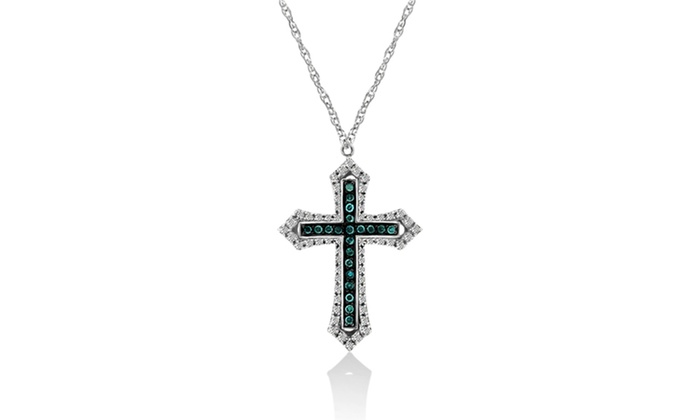 110 cttw blue and white diamond cross pendant in sterling silver 110 cttw blue and white diamond cross pendant in sterling silver mozeypictures Choice Image