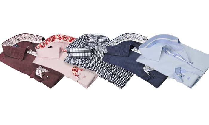 Rosso Milano Men's Modern Fit Printed Dress Shirts