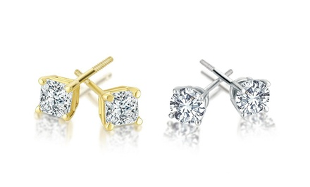 1.00 CTTW Certified Diamond Solitaire Earrings in 14K Gold by Today Tomorrow Together