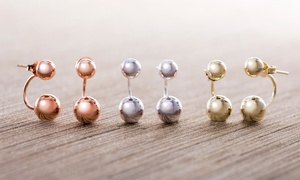 Nina & Grace Sterling Silver High Polish Ball Front-to-Back Earrings