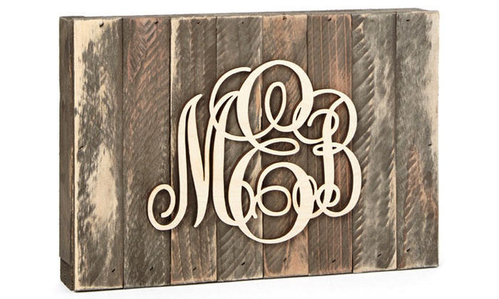 aMonogram Art: Natural or Painted Monogram Mounted on a Wooden Board from aMonogram Art (50% Off)
