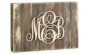Natural Or Painted Monogram Mounted On A Wooden Board From Amonogram Art (50% Off)