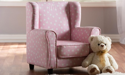 Selina 1-Seater Pink with Hearts Kids Fabric Armchair