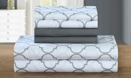 Optica Super-Soft Brushed Microfiber Geometric Print Sheet Set with Bonus Pillowcases 6edde870-96fe-11e6-ad10-002590604002
