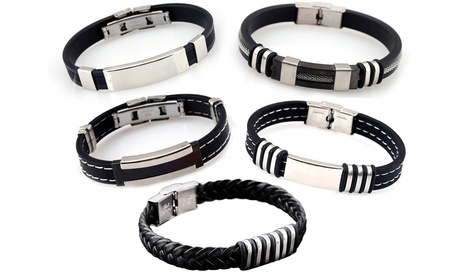 1, 3 ou 5 bracelets pour homme en similicuir et acier