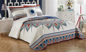 100% Cotton Bohemian-Inspired Reversible Quilt Cover Set (4-Piece)