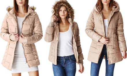 Ladies' Khaki Quilted Puffer Jackets
