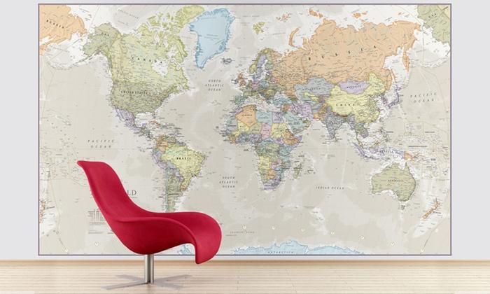 Groupon Goods Global GmbH: Großes Weltkarte-Wandbild (74% sparen*)