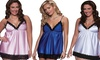 Seven 'til Midnight Satin Babydoll Nightgown and Thong: Seven 'til Midnight Satin Babydoll Nightgown and Thong