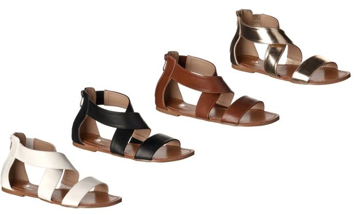 Claire Crisscross Open Toe Flat Sandals