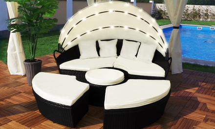 Rattan Effect LED Sun Island with Optional Cover With Free Delivery