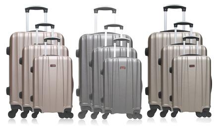 Set 3 valises en ABS, 4 roues pivotantes