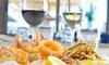 Menu di pesce con fritto e vino
