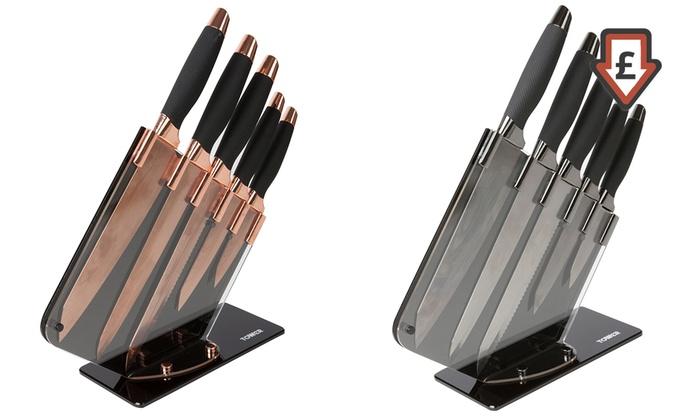 up to 62 off tower five piece knife set groupon. Black Bedroom Furniture Sets. Home Design Ideas