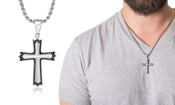 Men 39 s cross necklace groupon goods for Reinforcements stainless steel jewelry