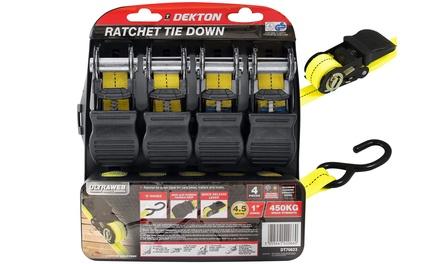 Dekton Four-Piece Ratchet Tie Down Cargo Straps