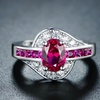 2.00 CTW Oval-Cut Red Spinel Gemstone and Cubic Zirconia Ring by PORI