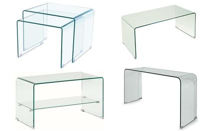 Tavolino in vetro curvato