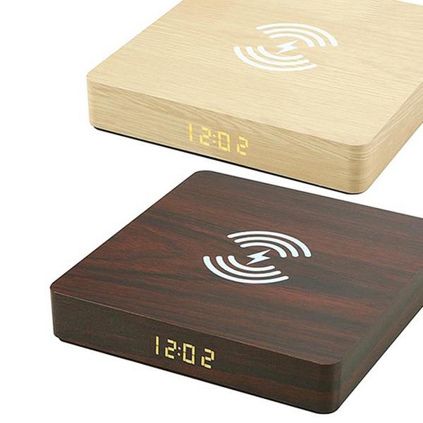 1x oder 2x 2 in 1 LED Wecker mit Ladestation in Walnuss Optik in Gelb, Hellbraun oder Braun