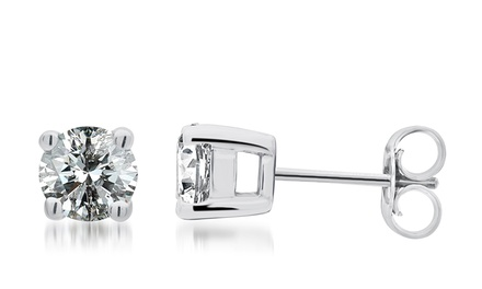 1/2—1.50 CTTW Diamond Stud Earrings in Sterling Silver