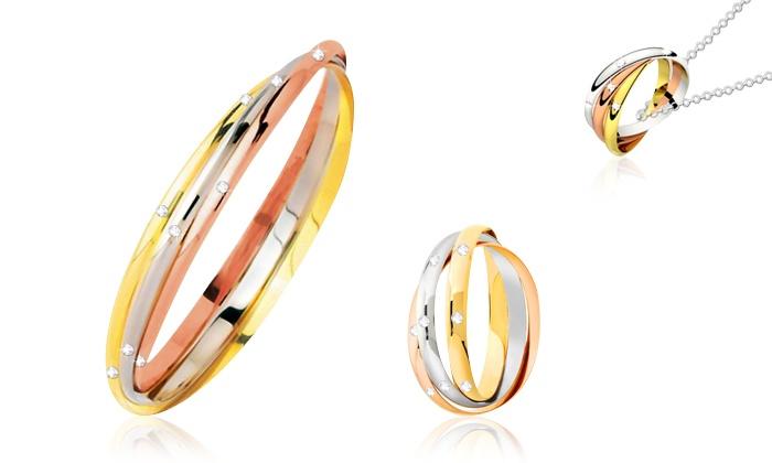 Groupon Goods Global GmbH Bague ou parure 3 or Luxury Crystal In ornées de  Swarovski
