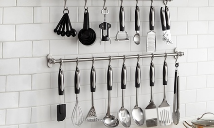 25Piece Kitchen Utensils Set with Optional Hanging Bar and Hooks