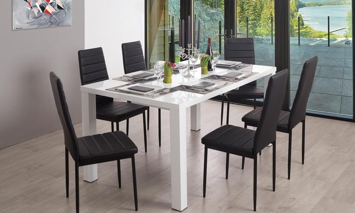 Repas Shopping Blanc Laqué AshlowGroupon Table Yyv7b6gf