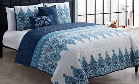 Reversible Quilt and Pillow Sets (4- or 5-Piece)