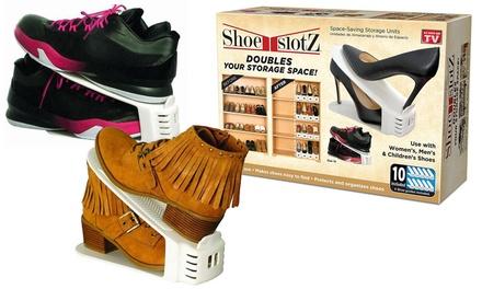 Space-Saving Shoe Slotz Storage Units (10-, 20-, or 30-Pack)