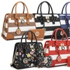 MK Belted Collection Simon Stripe Satchel Handbag and Wallet by Dasein