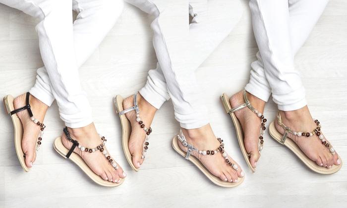 942f5380c91 Women s Pearl-Beaded Flat Sandals