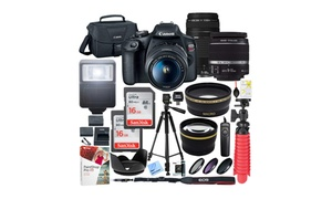 Canon EOS Rebel T7 24MP DSLR Camera Bundle with Double Zoom Lenses