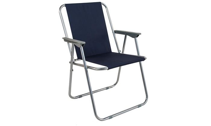 Set 2 sedie pieghevoli in acciaio e tela Oxford