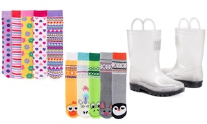 Muk Luks Kids' Molly Rain Boots with 5 Pairs of Socks
