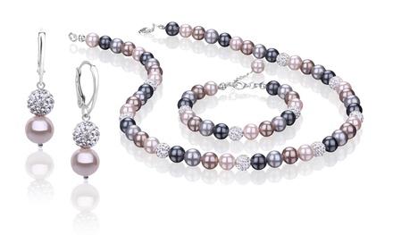 129,99 zł zamiast 1199 zł: biżuteria z pereł multikolor, kryształów oraz srebra 925 – bransoletka, naszyjnik i kolczyki