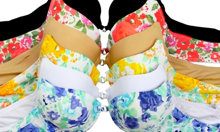 Bras in Floral Prints and Solids (6-Pack)
