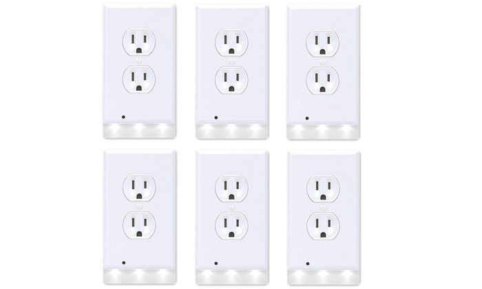 6 Pack Outlet Cover Wall Plate With Led Night Lights Groupon