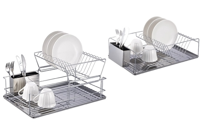 Home Basics 2 Tier Dish Rack Mesmerizing Home Basics Chrome Dish Racks Groupon Goods