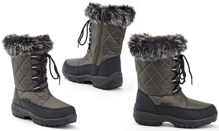 Size 8 NEW Snow Tec Ava Women/'s Snow Boots with Free Earmuffs Black