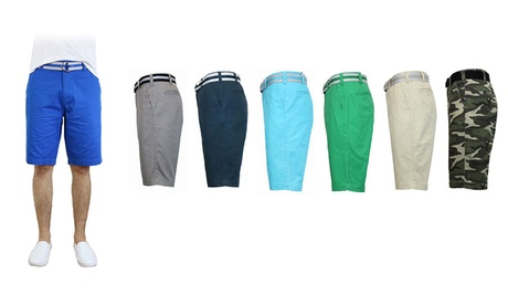 Men's 100% Cotton Twill Flat Front Belted Shorts