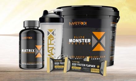 Matrix Elite: 1 kg poeder, creatine, eiwitrepen en shaker