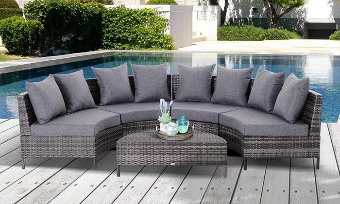 Outsunny Rattan Sofa and Table Set
