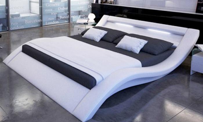 Lit Design Avec Sommier Groupon Shopping - Lit design a led