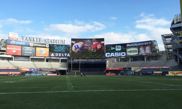 New Era Pinstripe Bowl at Yankee Stadium on Saturday, December 26, at 3:30 p.m.