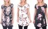 Women's Short-Sleeve V-Neck Tunic Top: Women's Short-Sleeve V-Neck Tunic Top