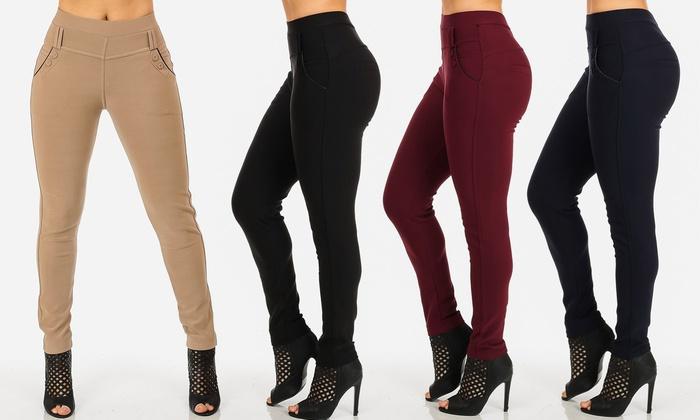 Junior Women's Stretchy High-Waist Work Dress Pants