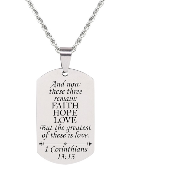 Matthew 7:7 Gold Pink Box Scripture Tag Necklace Matthew 7:7