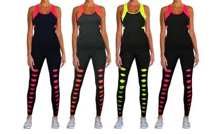 Conjunto deportivo Kerf para mujer: camiseta sin mangas y leggings tobilleros